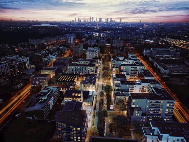 SOHO Warsaw Yareal HRA Architekci 2019 aerial view