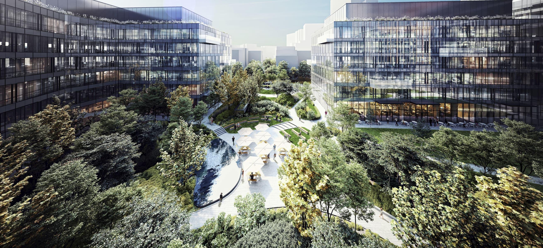 Forest Office Campus HBReavis HRA Architekci 2014-2018 courtyard