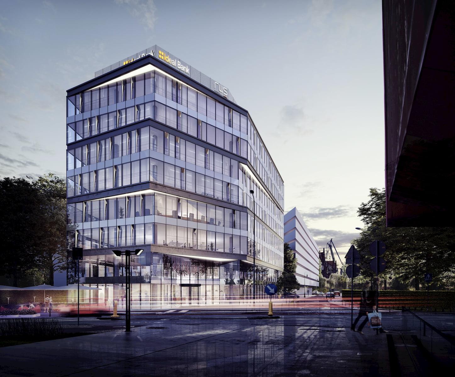 Gdansk Office building RWS APA Wojciechowski Architekci 2016 night shot