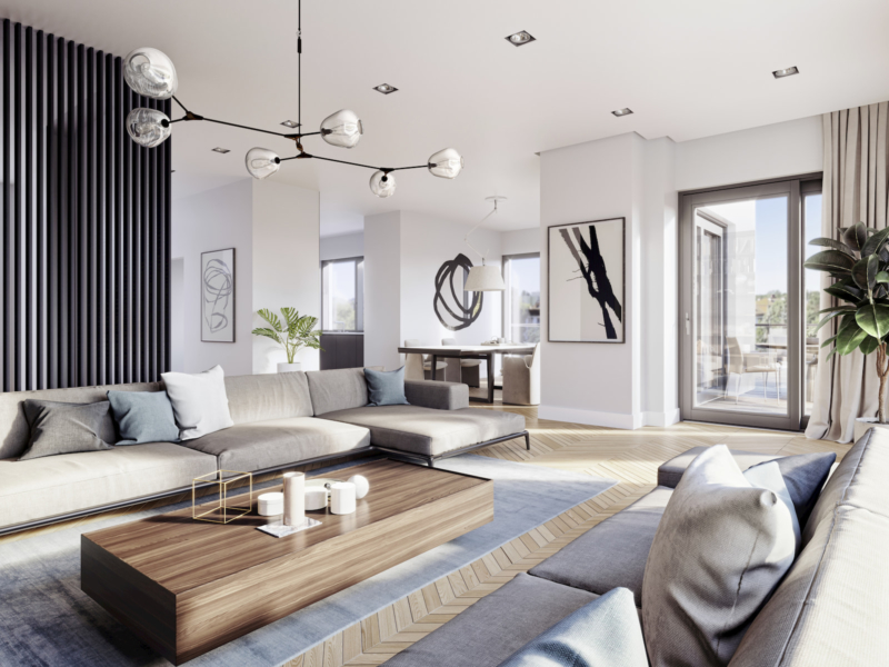 Rezydencja Łazienki Park Residence Yareal HRA Architekci Dembowska/Jagiełło 2018 aranżacja wnętrza apartamentu