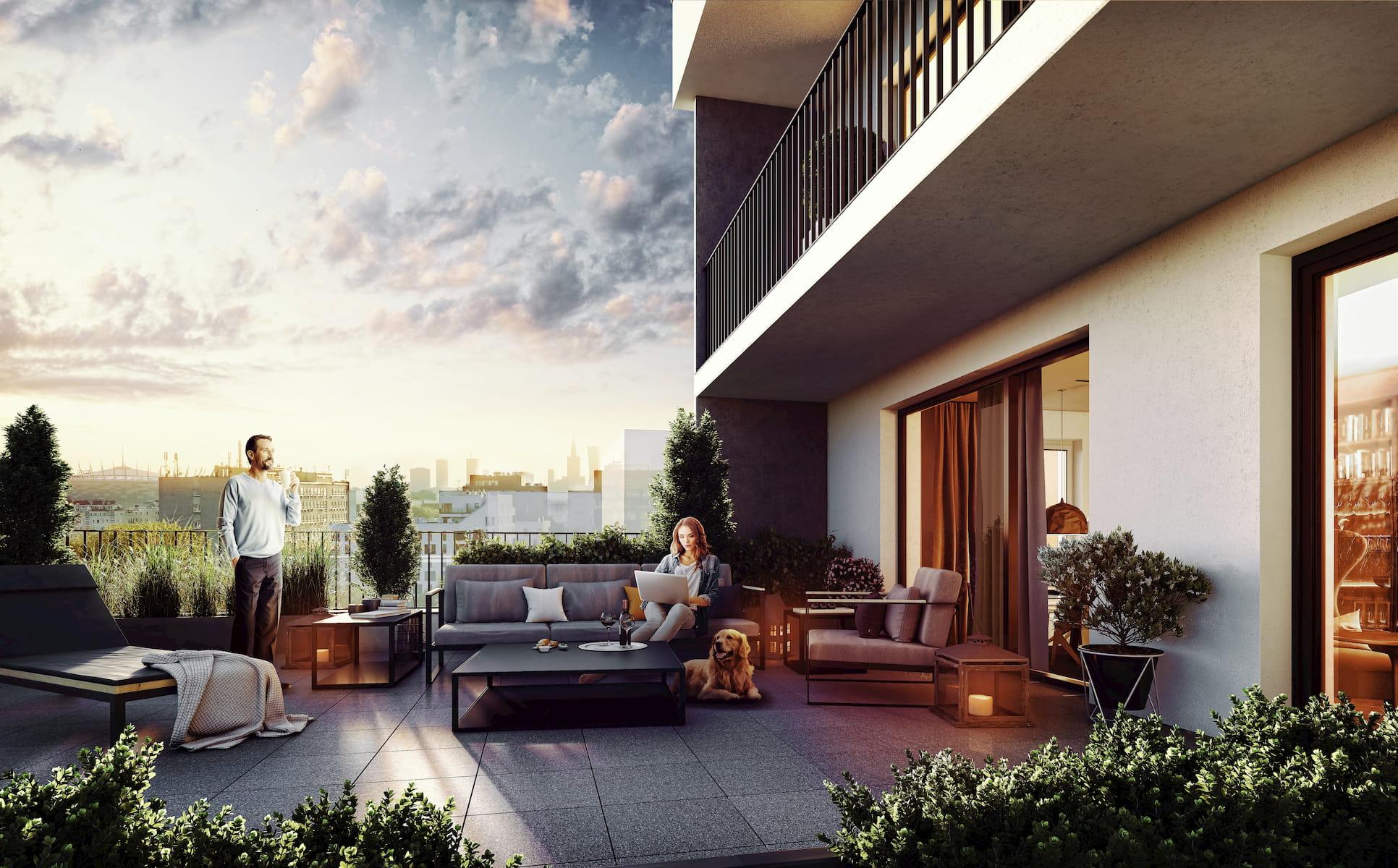 SOHO Warsaw Yareal HRA Architekci 2019 terrace view