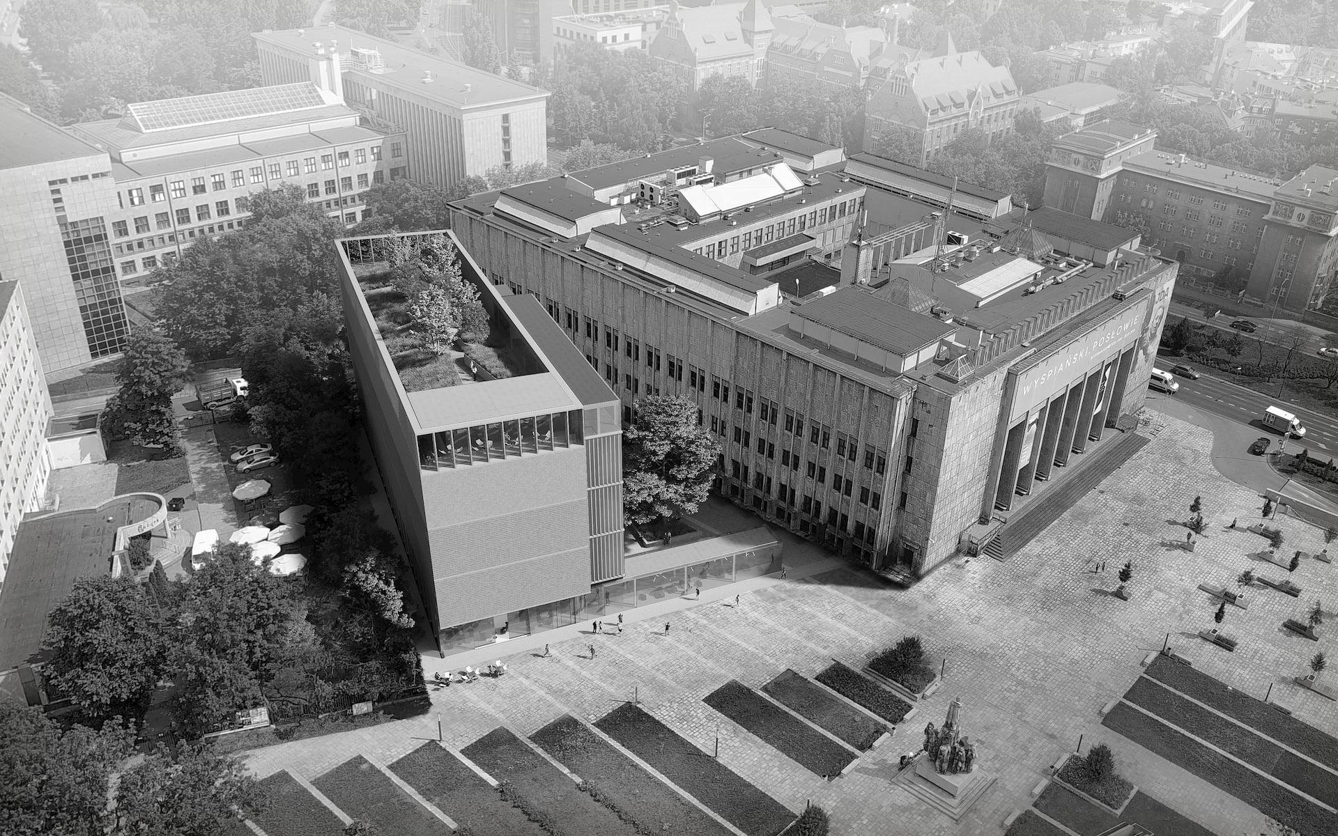 Stanislaw Wyspianski Museum in Krakow HRA Architekci 2019 aerial view