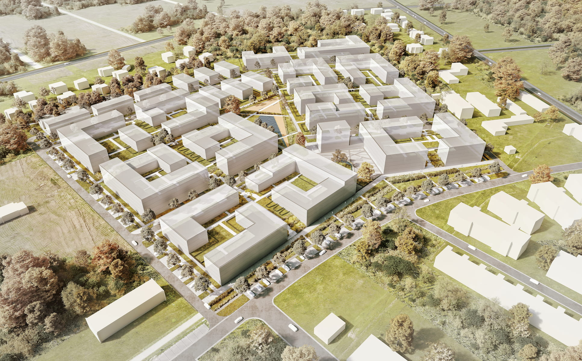Urban design concept for Housing estate in Wyszkow competition entry 4AM Architekci 2019