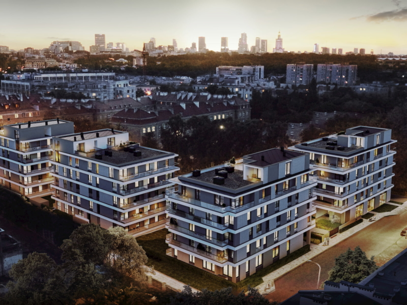 Housing estate in Warsaw Yareal Maas Projekt 2019 aerial view