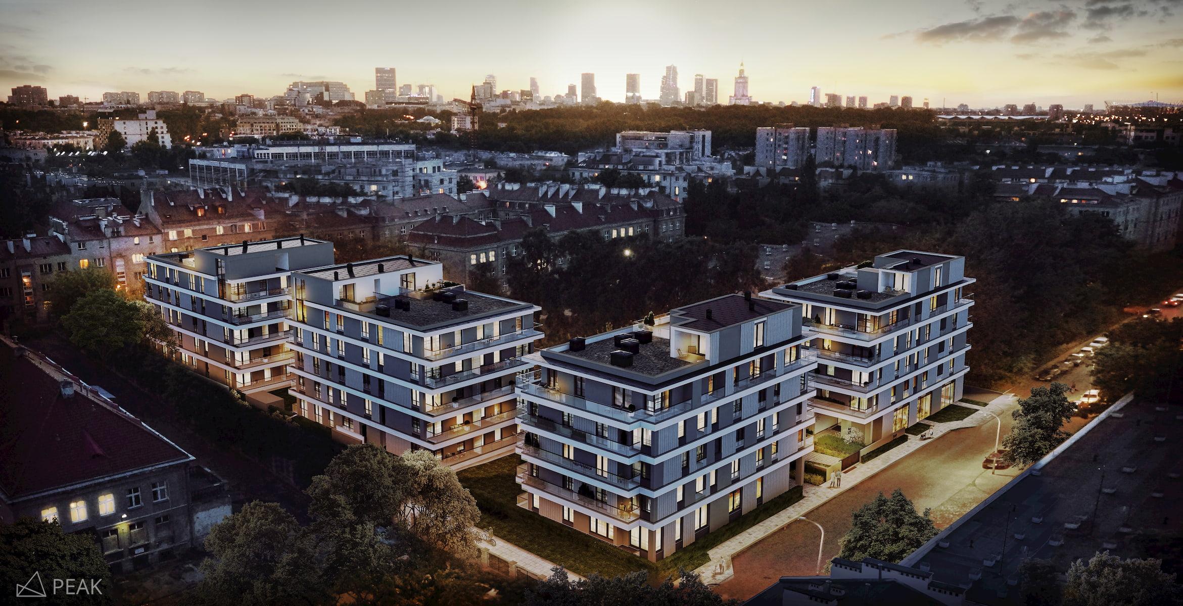 Housing estate in Warsaw Yareal Maas Projekt 2019 aerial view
