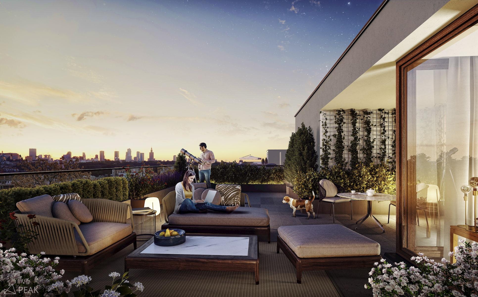 Housing estate in Warsaw Yareal Maas Projekt 2019 terrace